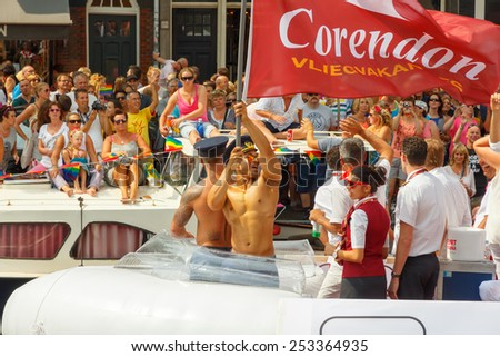 Amsterdam, Netherlands - August 2, 2014:  participants in the annual event for the protection of human rights and civil equality.-  Gay Pride - stock photo