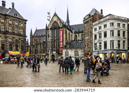 Amsterdam, Netherlands, Dam Square, old town - stock photo