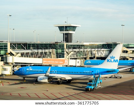 AMSTERDAM, NETHERLANDS - DEC 28, 2015: KLM's aircraft at Schiphol airport, Amsterdam, Netherlands. KLM is the oldest airline in the world found in 1919. - stock photo