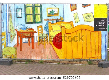 AMSTERDAM  NETHERLANDS   December 30  Sign of Van Gogh Museum on famous painting  TheVincent Van Gogh Stock Images  Royalty Free Images   Vectors  . The Bedroom Van Gogh Painting. Home Design Ideas