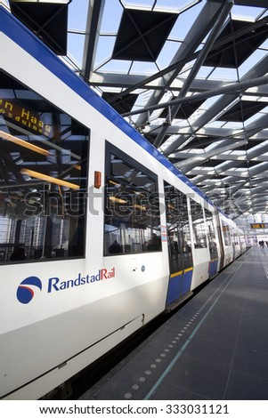 Amsterdam, Netherlands-january 25, 2015: tram station central the Hague Randstadrail