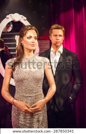 AMSTERDAM, NETHERLANDS - JUN 1, 2015: Angelina Jolie and Brad Pitt, Madame Tussauds museum in Amsterdam. Marie Tussaud was born as Marie Grosholtz in 1761 - stock photo