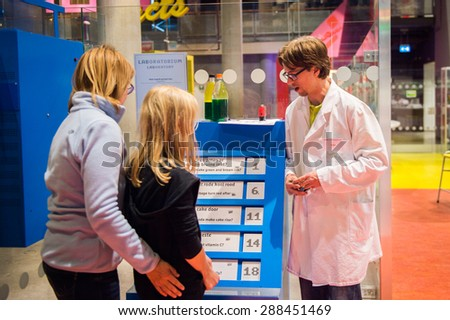 AMSTERDAM, NETHERLANDS - JUN 2, 2015: Laboratory of the Science Center Nemo, a science center in Amsterdam. The museum has origins in 1923