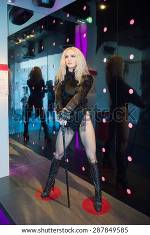 AMSTERDAM, NETHERLANDS - JUN 1, 2015: Madonna, the singer, Madame Tussauds museum in Amsterdam. Marie Tussaud was born as Marie Grosholtz in 1761 - stock photo