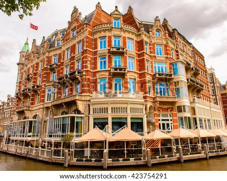 AMSTERDAM, NETHERLANDS - JUNE 1, 2015: Hotel L'europe of Amsterdam, Netherlands. Amsterdam is the capital of Netherlands and a popular touristic destination