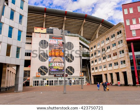 AMSTERDAM, NETHERLANDS - JUNE 1, 2015: Modern Architecture of Amsterdam, Netherlands. Amsterdam is the capital of Netherlands and a popular touristic destination