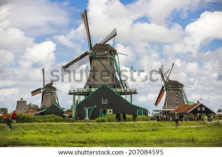Amsterdam, Netherlands - June 31: Traditional dutch windmills near Amsterdam, Netherlands on June 31, 2014.