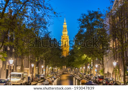 AMSTERDAM, NETHERLANDS - JUNE 15, 2013: Zuiderkerk (Southern Church), 17th-century Protestant church in the Nieuwmarkt area of Amsterdam, Netherlands. - stock photo