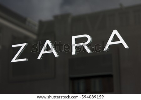 Amsterdam, Netherlands-march 5, 2017: letters zara on a store in Amsterdam