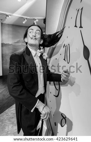 AMSTERDAM, NETHERLANDS - May 5, 2016: A Salvador Dali, the painter,  model  at the Amsterdam Madame Tussauds wax museum.