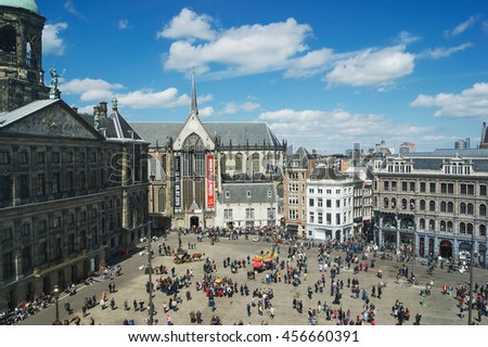 AMSTERDAM, NETHERLANDS - MAY 5, 2015: Dam Square, top view