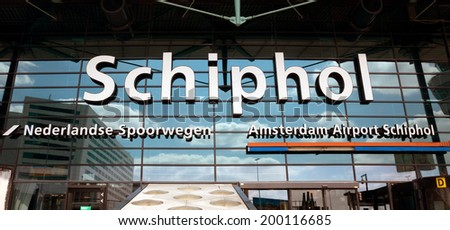 AMSTERDAM, NETHERLANDS - MAY 30: Detail of the main entrance in Shiphol Airport on May 30, 2014 in Amsterdam, Netherlands. It is the Netherlands' main international airport.  - stock photo