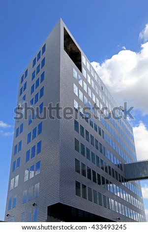 AMSTERDAM, NETHERLANDS - MAY 3, 2016: Modern architecture on IJdock district in Amsterdam, the Netherlands - stock photo