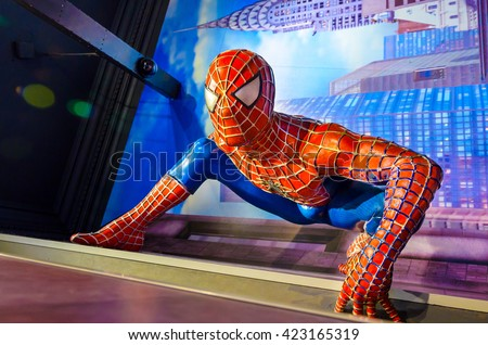 AMSTERDAM, NETHERLANDS - May 5, 2016: Spiderman in the Madame Tussauds museum in Amsterdam.