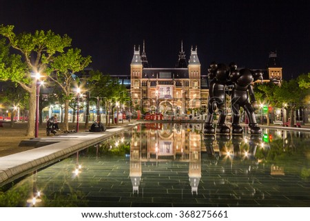 AMSTERDAM, NETHERLANDS - MAY 29, 2015: The Rijksmuseum at night. It is a Netherlands national museum dedicated to arts and history. - stock photo