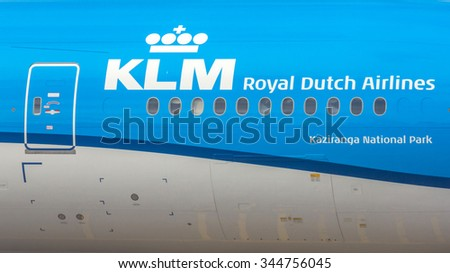 AMSTERDAM, NETHERLANDS - NOV 25, 2015: A KLM flight. It is the flag carrier airline of the Netherlands. KLM is headquartered in Amstelveen, with its hub at nearby Amsterdam Airport Schiphol. - stock photo