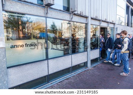 AMSTERDAM, NETHERLANDS - NOVEMBER 13: Anne Frank House with unidentified people on November 13, 2014 in Amsterdam. Its a biographical museum dedicated to Jewish wartime diarist Anne Frank - stock photo