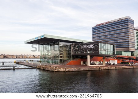 AMSTERDAM, NETHERLANDS - NOVEMBER 13: Bimhuis on November 13, 2014 in Amsterdam. Its a concert hall for jazz and improvised music. With 150 gigs a year its the main stage for the genres in Netherlands - stock photo