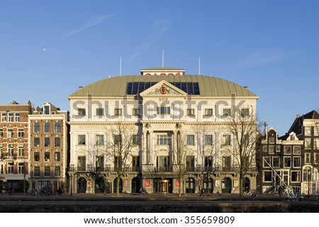 AMSTERDAM, NETHERLANDS - NOVEMBER 26: Exterior of Royal Theater Carre, the official theatre of Amsterdam, on November 26, 2015 in Amsterdam, Netherlands. - stock photo