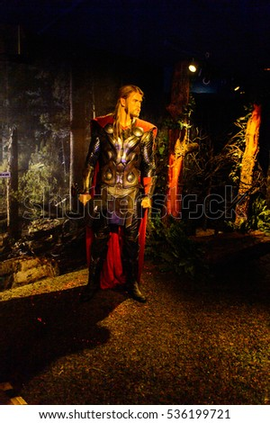 AMSTERDAM, NETHERLANDS - OCT 26, 2016: Chris Hemsworth as Thor, Marvel section, Madame Tussauds wax museum in Amsterdam. One of the popular touristic attractions