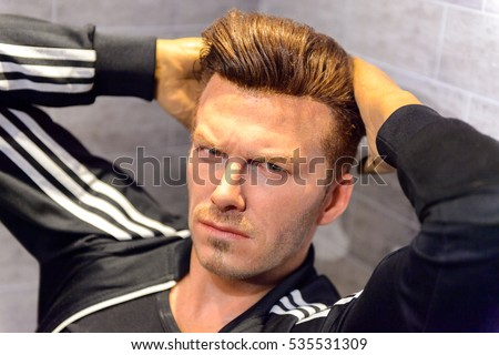 AMSTERDAM, NETHERLANDS - OCT 26, 2016: David Beckham, English footballer, Madame Tussauds wax museum in Amsterdam. One of the popular touristic attractions