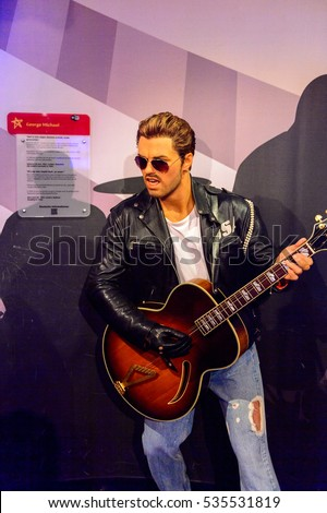 AMSTERDAM, NETHERLANDS - OCT 26, 2016: George Michael, Madame Tussauds wax museum in Amsterdam. One of the popular touristic attractions