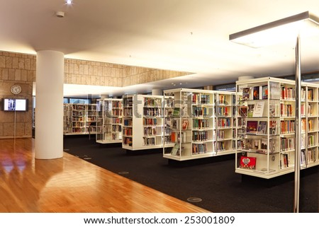 AMSTERDAM, NETHERLANDS - OCTOBER 09: Central Public Library of Amsterdam on October 09, 2014. This library is the biggest in Netherlands  - stock photo