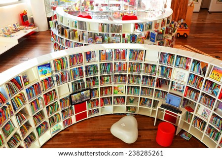 AMSTERDAM, NETHERLANDS - OCTOBER 09: Children's department in Central Public Library of Amsterdam on October 09, 2014. This library is the biggest in Netherlands - stock photo