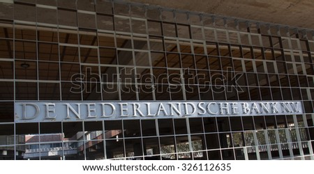 Amsterdam, Netherlands-october 10, 2015: De Nederlandsche Bank NV (DNB) is the central bank of the Netherlands located in Amsterdam
