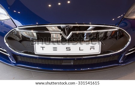 Amsterdam, Netherlands-october 25, 2015: Tesla Car in a showroom in Amsterdam - stock photo