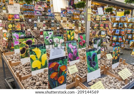 Amsterdam, Netherlands, on July 8, 2014. Sale of plants and seeds in the Flower market of Amsterdam. The flower market - one of known sights of the city