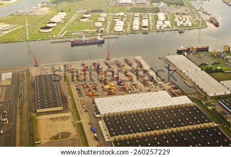 AMSTERDAM, NETHERLANDS - SEPTEMBER 27: aerial view of Westpoort on September 27, 2014 in Amsterdam, Netherlands. Westpoort is a borough of Amsterdam covering the the main harbour and industrial area. - stock photo