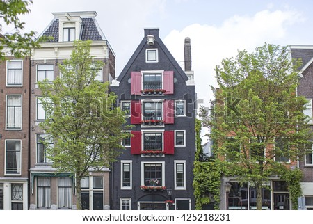 Amsterdam, Netherlands: Traditional old buildings in Amsterdam, the Netherlands