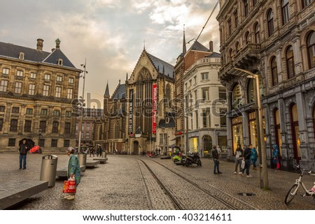 AMSTERDAM, NETHERLDANS - MAY 29, 2016: The Nieuwe Kerk is a 15th-century church in Amsterdam, located on Dam Square, next to the Royal Palace. The Nieuwe Kerk is now used as an exhibition space.