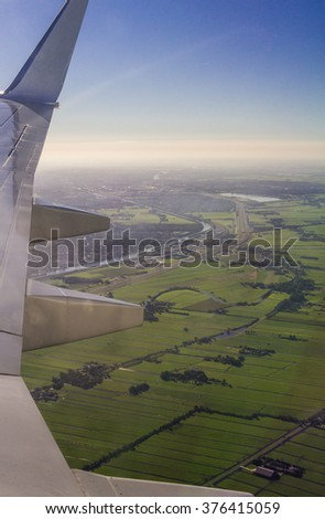 Amsterdam North Holland Aerial View from Aircraft Porthole - stock photo
