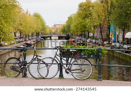 AMSTERDAM - OCTOBER 20, 2013: Bicycles in Amsterdam.  Amsterdam is worlds most bicycle friendly cities, 57% of traffic covered by bicycles and 760,000 citizens and about a million bikes.