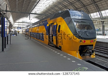 Amsterdam. railway station. The train at the platform - stock photo