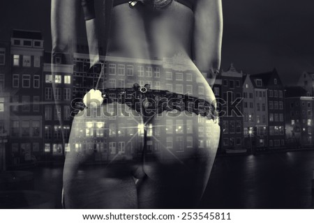 Amsterdam Red Light District City. Sexy blonde in red lingerie in the city where prostitution is legalized. Double exposure. black and white photography - stock photo