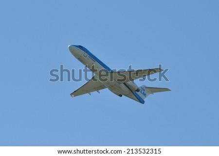 AMSTERDAM/SCHIPHOL, 27 AUGUST 2014 - KLM Cityhopper departing from Amsterdam Airport Schiphol. - stock photo
