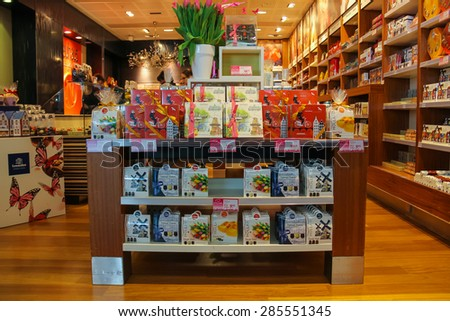 Amsterdam Schiphol, Netherlands - April 18, 2015: Sale of sweets and chocolates in a candy store at the airport Amsterdam Schiphol, Netherlands