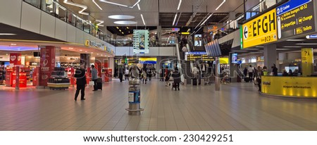 AMSTERDAM SCHIPHOL, THE NETHERLANDS - JUNE 12, 2014: Shopping center Schiphol Plaza at Schiphol airport.  - stock photo