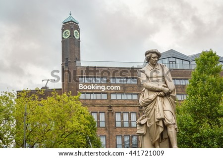 AMSTERDAM - SEPTEMBER 17, 2015: Rembrant monument in front of booking.com headquaters in famous Rembrant park in Amsterdam - stock photo