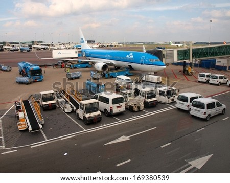 AMSTERDAM - SEPTEMBER 10 2012: Schiphol airport at work. Amsterdam city.  September 10, 2012 in Amsterdam. Holland.