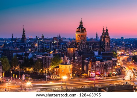 Amsterdam skyline shortly after sunset (the Netherlands) - stock photo