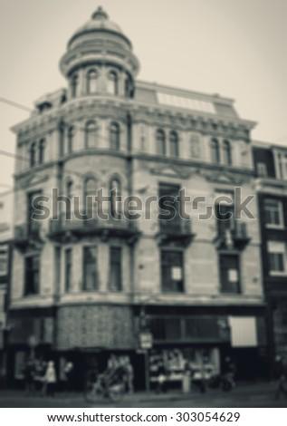 Amsterdam street. Blurred aged photo. Black and white. - stock photo