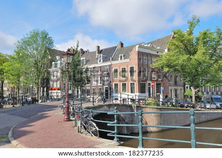 Amsterdam. The bridge at the intersection of  Keizersgracht and Regulirsgraht canals