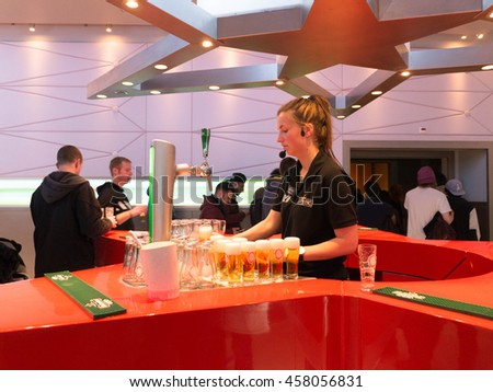 Amsterdam, The Netherlands, April 2016 : The Heineken Experience is a historic brewery and corporate visitor center for the internationally distributed Dutch pilsner, Heineken beer.