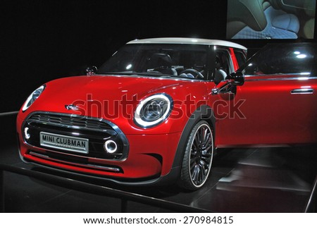 AMSTERDAM, THE NETHERLANDS, 17 APRIL 2015 - The new Mini Clubman Concept is presented during AutoRai Amsterdam. - stock photo