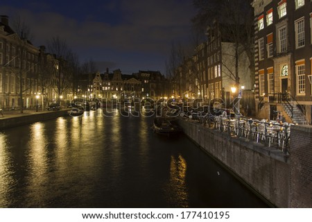 Amsterdam, The Netherlands, April 13, 2012 . View of the typical city street spring day