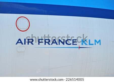 AMSTERDAM, THE NETHERLANDS - 26 AUGUST 2014 - Close-up of Air France KLM logo on airplane.